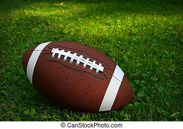 Football on grass - American football isolated on top of...