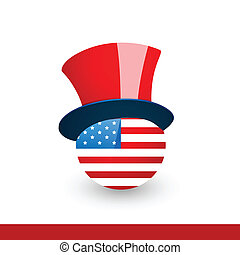 american flag with hat