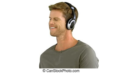 Attractive man with headphones list