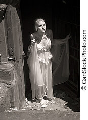 Infrared Photo of Young Woman in Her Lingerie - Infrared...