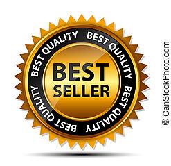 Vector best seller gold sign, label template