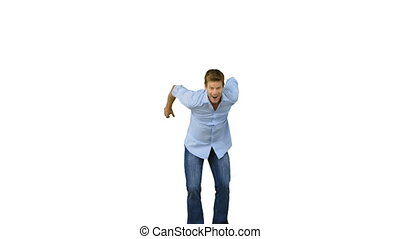 Man jumping to show his triumph on white background in slow...