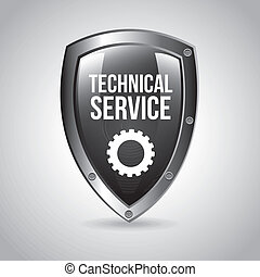 technical service shield over gray background vector...