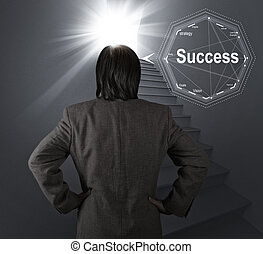 stairway to success as business concept - businessman...