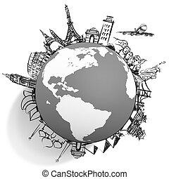 airplane traveling around the world