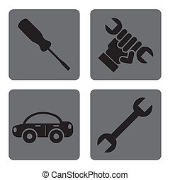 mechanical icons over white background vector illustration