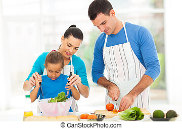 mother teaching little daughter mixing salad
