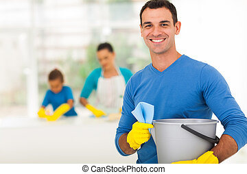 happy family man cleaning home with family - happy family...