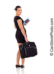 beautiful businesswoman going on business trip