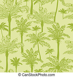 Green palm trees seamless pattern background - Vector green...