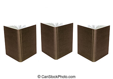 Open books - Opened brown book, standing on a white...