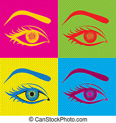 eyes design over colorful background vector illustration