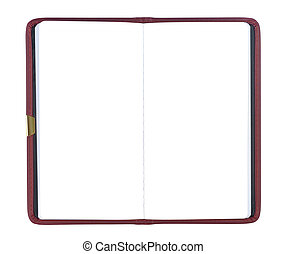 Blank Notepad - Blank leather scheduler isolated over white...