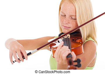 preteen girl playing violin - pretty preteen girl playing...