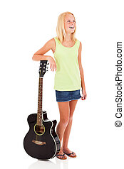 young teen girl posing with a guitar - beautiful young pre...