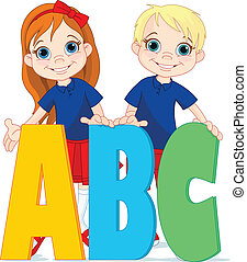 Two kids and letters - Illustration two kids and ABC letters...