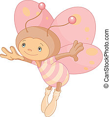 Cute butterfly - Illustration of cute flying butterfly