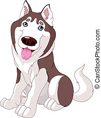 Cute husky -  Cartoon illustration of Cute husky dog