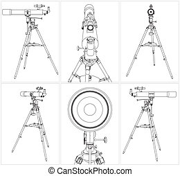 Telescope On Tripod - Telescope Vector