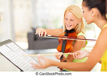preteen girl in music class - beautiful preteen girl in...