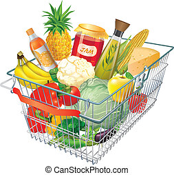 Shopping basket - A shopping basket full of fresh colorful...