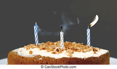 Birthday candles being extinguished - Birthday candles bein...