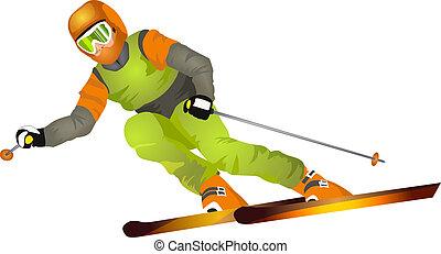 Skier on the highway isolated on white background (vector...