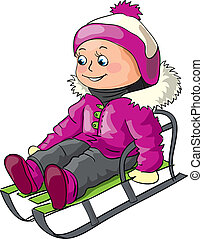 Girl riding on a sledge - Winter illustration for children...