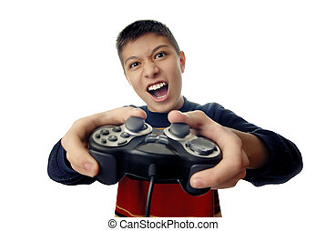 Kill enemy - Photo of the boy with joystick playing computer...