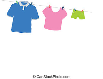 family cloths - hanging family cloths on white background