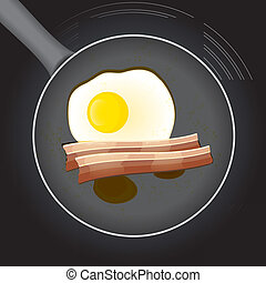 Fried egg and beacon in a frying pan with oil, vector...