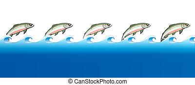 Salmon Swimming Upstream - A stylization of the great salmon...