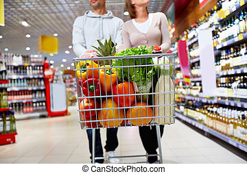 Healthy products - Image of cart full of products in...