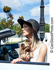 Sexy lady in the sport car with dog