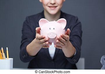 mostrando,  piggy, banco