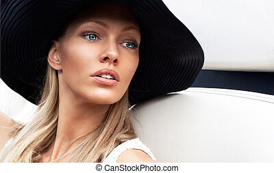 portrait of a beautiful woman - Vogue style portrait of a...