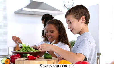 Siblings making salad together with