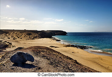 Papagayo beach - Scenic view of Papagayo beach on island of...