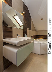 Washbasin - Stylish bathroom: washbasin, bath and mirror