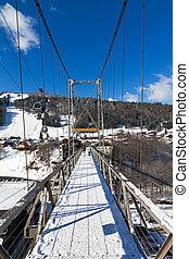 Morzine bridge - Suspension bridge connecting the village of...