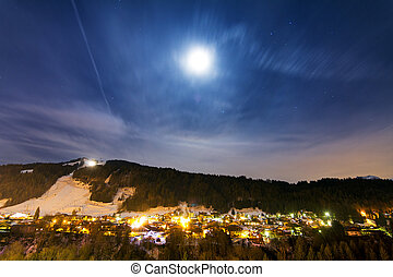 Morzine nightscape - Beautiful winter nightscape with the...