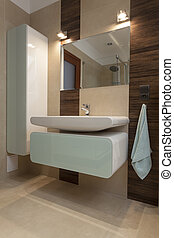 Washbasin - Elegant washbasin, shelf and mirror in bathroom