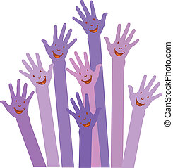 purple colorful up hands on white background