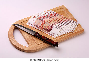 Cutting - Russian money on a breadboard