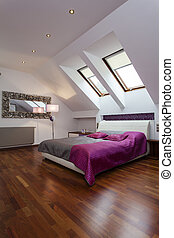 Purple bedroom - Spacious bedroom with purple and silver bed...