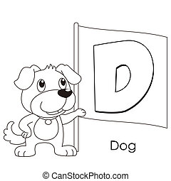animal alphabet D - Coloring Alphabet for Kids, D with dog