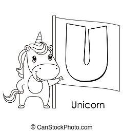 animal alphabet U - Coloring Alphabet for Kids, U with...