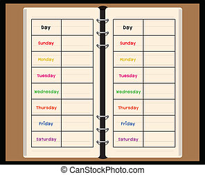 black notebook weekly planner on white background