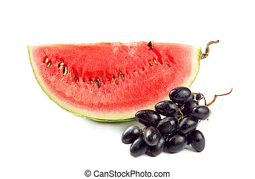 Water melon - Slice of fresh water melon with grape,...