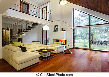 Living room - Designer's house with entresol and spacious...